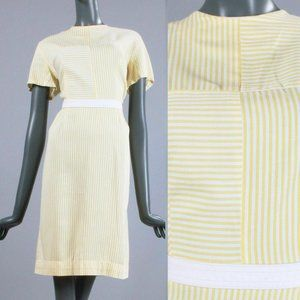 L Vintage 60s Seersucker Pencil Day Dress